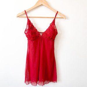 La Senza Red Floral Embroidered Lingerie Top Sz M